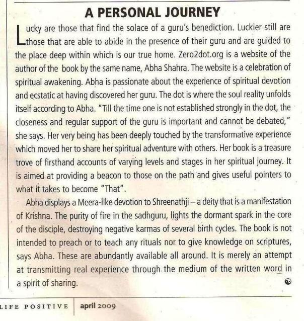 """Review-Website 0f """"Zero 2 Dot"""" in Life Positive/April 2009 issue page :72"""